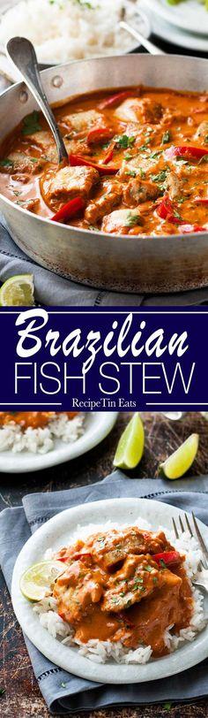 Brazilian Fish Stew Moqueca Baiana Recipe Fish Recipes And Stew Fish Dishes, Seafood Dishes, Seafood Recipes, Soup Recipes, Cooking Recipes, Yummy Recipes, Healthy Recipes, Fish Crockpot Recipes, Halibut Recipes