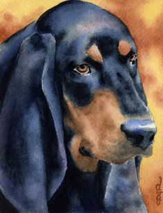 BLACK And TAN COONHOUND Dog Art Print Signed by by k9artgallery