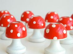 Set of 5 Wood Mushroom red and white polka dot Candle holders from Sweden