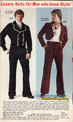 Plaid Stallions : Rambling and Reflections on '70s pop culture: Luxury Suits for Men who know Style!