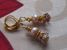czech glass earrings pink gold plated flower by Deanasprairiegems $19.95 Free shipping 20% off Coupon Code November2015
