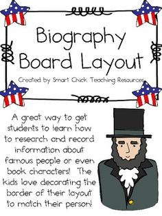 Biography board poster layout for famous people or for Historical biography template