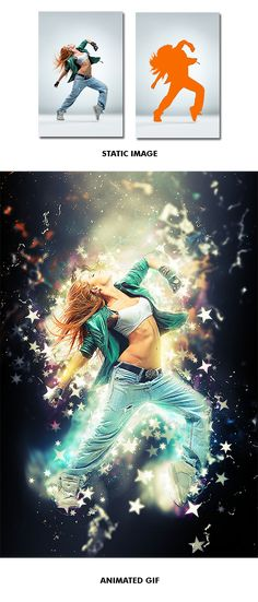 Gif Animated Stars Wave Photoshop Action - Photo Effects  #Actions #PSAction #Photoshop #PS #Graphicriver #PhotoEffects #Digitalart #Design #stars #particle #lights #confetti #show #inspiration #girl #dance