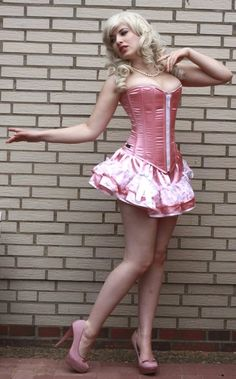 Beautiful Sissyboy in pink corset and blonde wig !!! I love also the skirt !!! Very very gorgeous ! (Chloe Sissi)