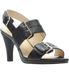 Free shipping and returns on Clarks® Dalia Erica Sandal (Women) at Nordstrom.com. <p>A bit of broguing inspired by the archives marks the trio of buckle straps on this cushioned sandal with a covered cone heel.</p> Leather Clogs, Leather Slip Ons, Nordstrom Shoes, Heeled Loafers, Party Dresses For Women, Shoes Sandals, Clarks Sandals, Buy Shoes, Summer Time