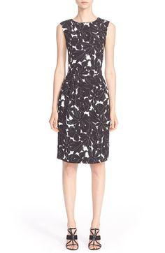 Oscar de la Renta Floral Print StretchSilk Dress available at #Nordstrom