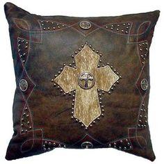 Western Cowhide Hair On Cross Pillow: