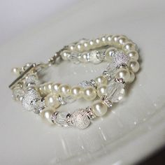 Vintage Inspired Wedding Bracelet, Pearls, Rhinestones, Crystals, Bridal, prom, party