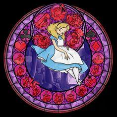 Walt Disney movie Alice in Wonderland stained glass style Art Nouveau Disney, Kingdom Hearts, Disney E Dreamworks, Disney Pixar, Disney Characters, Merida Disney, Walt Disney, Disney Love, Disney Magic