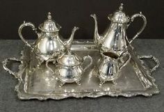 Webster Wilcox American Rose Silverplated Coffee Tea Service Set with Tray
