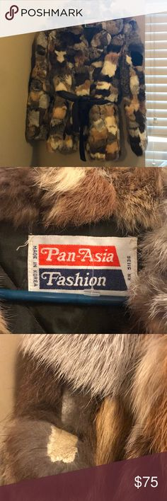 Pan Asia Rabbit fur coat sz small Asian made fur multicolored rabbit has no size inside but I can safely say a small because I am medium has multiple holes but can be fixed has shedding in certain areas. Priced is reduced to reflex flaws. pan Asia Jackets & Coats