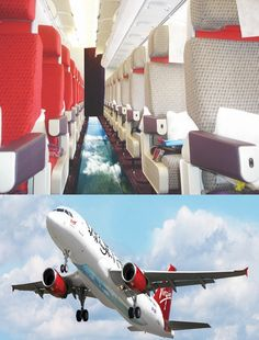 Glass Floored Plane from Virgin Atlantic. I want to go on this plane! Virgin Atlantic, Air France, British Airways, Exploration, Glass Floor, Future Travel, Oh The Places You'll Go, Dream Vacations, Wonders Of The World