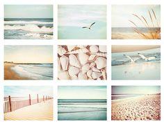 Beach Photo Set - 9 5x7 Beach Photographs - summer photography ocean sea print set seashore wall art light blue pastel pale cream white via Etsy