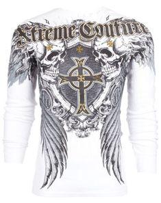 Xtreme Couture AFFLICTION Men THERMAL T-Shirt PULVERIZE Tattoo Biker M-3XL $58