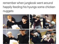 This is why I love them, they feed each other, need some people like this!!!!❤~