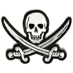 Embroidered Iron On Patch - White Pirate Sword Skull Skull Patch - apps weight loss Cute Patches, Pin And Patches, Iron On Patches, Skull Patches, Pirate Sword, Harry Potter Sweatshirt, Biker Vest, Funny New, Morale Patch