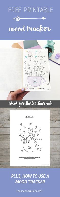 Free printable mood tracker for bullet journal. Click through to download the file for free, and learn more about mood tracking. hearts flower cup