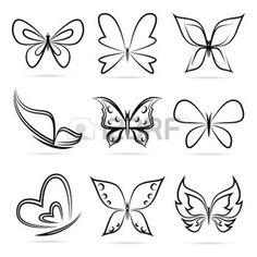 tatouages papillon: groupe de vecteur de papillons sur fond blanc.