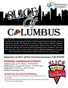 Slice of Columbus 2015 - DeLena Ciamacco encourages you to experience central Ohio's largest pizza event for a great cause! Hosted by the Development Board of Nationwide Children's Hospital, Slice of Columbus benefits the Research Institute at Nationwide Children's Hospital.