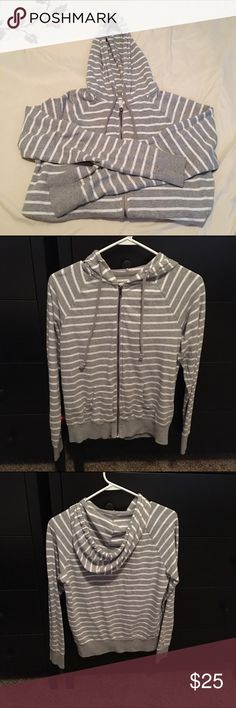 💖SALE💖 Forever 21 zip jacket This item has been used. It is still in good condition. Gray with white stripes. It has a hood with draw string as well. Forever 21 Jackets & Coats