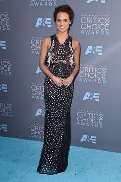 Alicia Vikander wearing Mary Katrantzou in Santa Monica