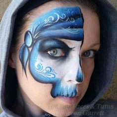 Blue Pirate Monkey Face Paint, Mime Face Paint, Skull Face Paint, Face Paint Makeup, Skull Painting, Pirate Face Paintings, Face Painting For Boys, Face Painting Tutorials, Face Painting Designs