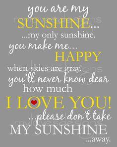 Instant Printable Digital Design - You Are My Sunshine Design - 8x10 via Etsy