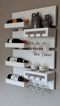 Wall Shelf Ideas (Shelves for Every Room) - 27 Exclusive Wall Shelf Ideas - Home Decor Kitchen, Kitchen Design Small, Wine Cabinet Decor, Kitchen Design Floor Tile, Home Bar Designs, Kitchen Decor, Diy Home Bar, Home Decor, Bars For Home