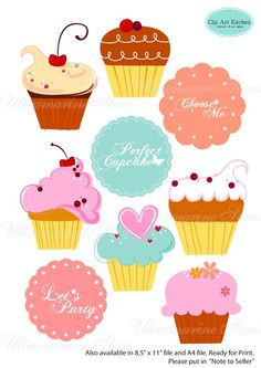 Printable Digital clip art Cupcake and by UltramarineSTARS