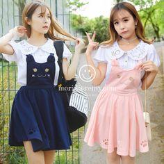 Mori Clothing Overalls on Mori Girl の森ガール.Mori Lolita Preppy Cat Overalls Cute Cartoon Dress make you a fashionista.