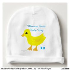 """Yellow Ducky Baby Boy PERSONALIZED Hospital Name Baby Beanie. Cute Yellow Rubber Ducky baby hat with the wording, """"Welcome Sweet Baby Girl XO"""" written in Blue text on the Front of White Infant Hat.  BACK OF HAT has area for Pediatrics Hospital Name, Location & Logo.  Great keepsake for Hospitals (Oder in BULK) for their new parents!   Original Graphic Art Hand-Painted Digital Design, Quote Text Saying & Hospital Name template design Copyright © TamiraZDesigns via…"""