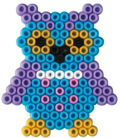 Maybe with a heart on its stomach for V Day? Bead Loom Designs, Hama Beads Design, Hama Beads Patterns, Beading Patterns, Perler Beads, Fuse Beads, Owl Perler, Beading For Kids, Bottle Cap Art