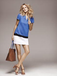 1.2.3 Paris - Collection printemps-été 2012 - Robe Marion / Sac Pierre / Sandales Robyn #colorblock #cabas #dress #bleu #blue #white #blanc #camel #bicolore #mode #fashion #123paris #123 #elegance #chic