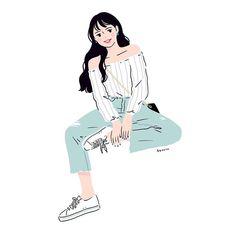 Chibi Wallpaper, Cute Anime Wallpaper, Cute Cartoon Wallpapers, Korean Illustration, Character Illustration, Illustration Art, Cartoon Girl Drawing, Girl Cartoon, Abstract Line Art