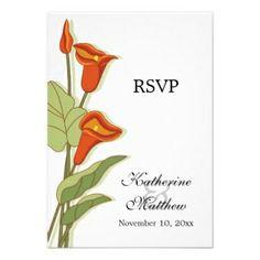 lily wedding invites | ... Wedding Invitations :: Elegant Calla Lily In Orange Rsvp Cards Invites