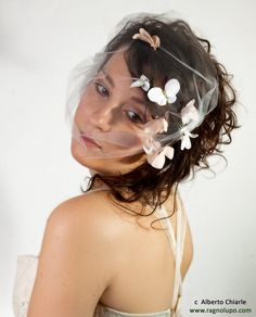 Bridal Veil Mini Visor Veil, Bandeau Birdcage Veil with Butterfly. Wedding Hair Fascinator Handmade Piece