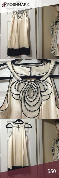BCBG MaxAzria White Shift Dress Stunning neck detail on this silky white/off white dress BCBGMaxAzria Dresses Mini
