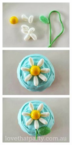 Super Simple Birthday Cakes: Daisy Cupcakes tutorial at www.lovethatparty.com.au