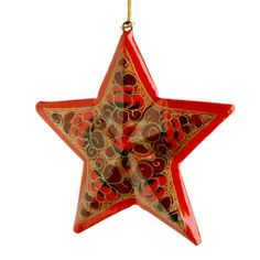 $8 Red Holiday Star Ornament. The joy of the season, in hand-painted red and gold.
