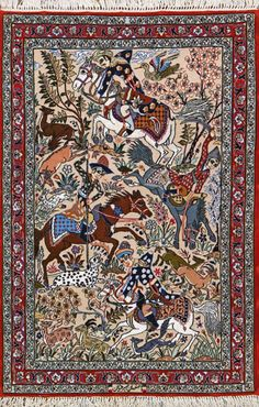 "I've never seen a rug with detailed horses- very unique! (Esfahan Persian Rug, Buy Handmade Esfahan Persian Rug 2' 9"" X 4' 1"", Authentic Persian Rug)"