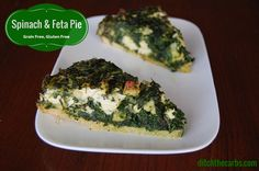 LCHF Spinach and feta pie is such a fabulous dish for the family dinner or cold at picnics and school lunches. It is gluten free, grain free, no added sugar and nutritious with all that spinach and mint. Take a look. | ditchthecarbs.com