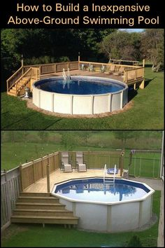 Build yourself an above-ground pool with a deck using the cheapest materials ava. Build yourself an above-ground pool with a deck using the cheapest materials available! Above Ground Pool Landscaping, Above Ground Pool Decks, Backyard Pool Landscaping, Backyard Pool Designs, Above Ground Swimming Pools, In Ground Pools, Diy In Ground Pool, Landscaping Ideas, Backyard Ideas