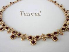 PDF tutorial Necklace Leuviah seed beads SWAROVSKY by BeadsMadness, $4.00