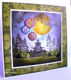 handmade card ... Chocolate Baroque Design Team: Oriental Twilight ... exquisite detail  and great color combo ... luv the lanterns and the big golden moon ...