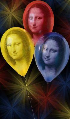 Mona ballons you can fly lucky you dear )) Monnalisa Kids, Mona Lisa Parody, Mona Lisa Smile, Instagram Story Filters, 6th Grade Art, Famous Artwork, Italian Artist, Illuminated Manuscript, Banksy