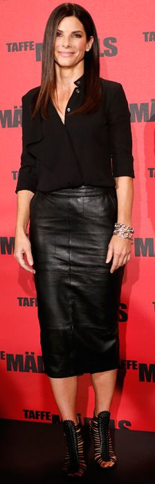 #Sandra Bullock's #black #leather #pencilskirt #berlin