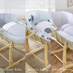 Have you seen the new Clair de Lune High Top Palm Moses Baskets? Made in the UK with 5 stunning cotton bedding sets to choose from, there's something to suit every nursery!