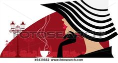 Clipart of Woman in a big hat at cafe k9439882 - Search Clip Art ...