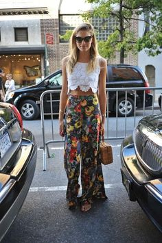 lace crop top with floral palazzo pants. #summeroutfit
