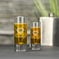 Engraved Shot Glass Set - Mr and Mrs